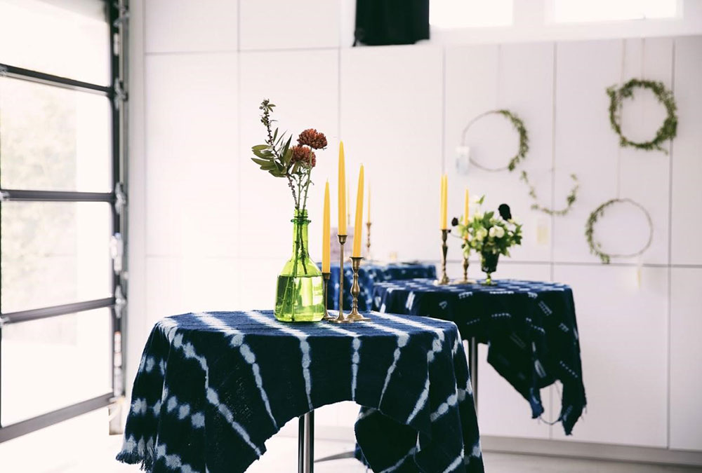 brass candlesticks,colorful candles for rental